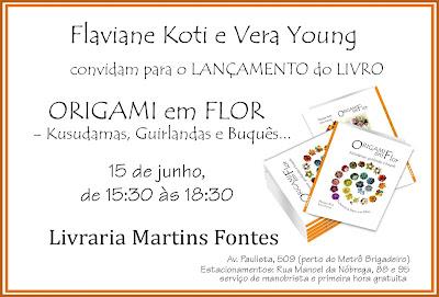 """Convite para lançamento do livro """"ORIGAMI EM FLOR"""" em SP"""
