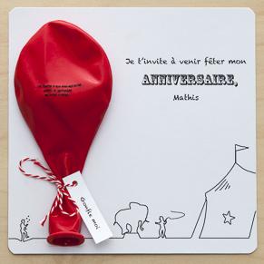 invitation sur le thème du cirque avec ballon à gonfler