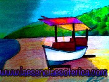 dibujo aloma esencia esoterica barco en la playa