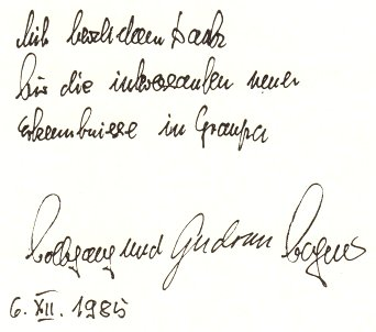 Gästebucheintragung Wolfgang Wagner
