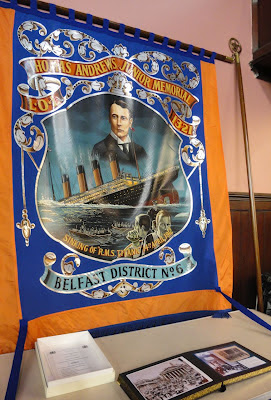 Thomas Andrews Junior Memorial LOL 1321 banner featuring images of the shipbuilder and the sinking Titanic