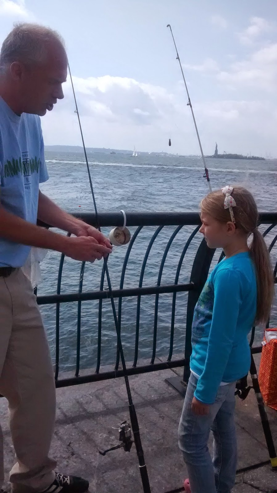 Motivated parent successful child the follow up of go for Morning star fishing