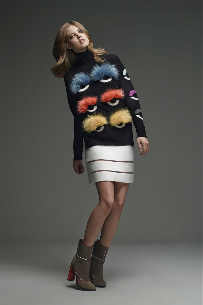 Fendi Pre-Fall 2015 Bugs Statement Turtleneck Wool Pullover with Fur Editorials