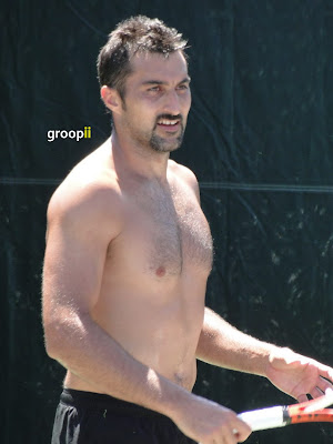 Nenad Zimonjic Shirtless at Sony Ericsson Open 2011
