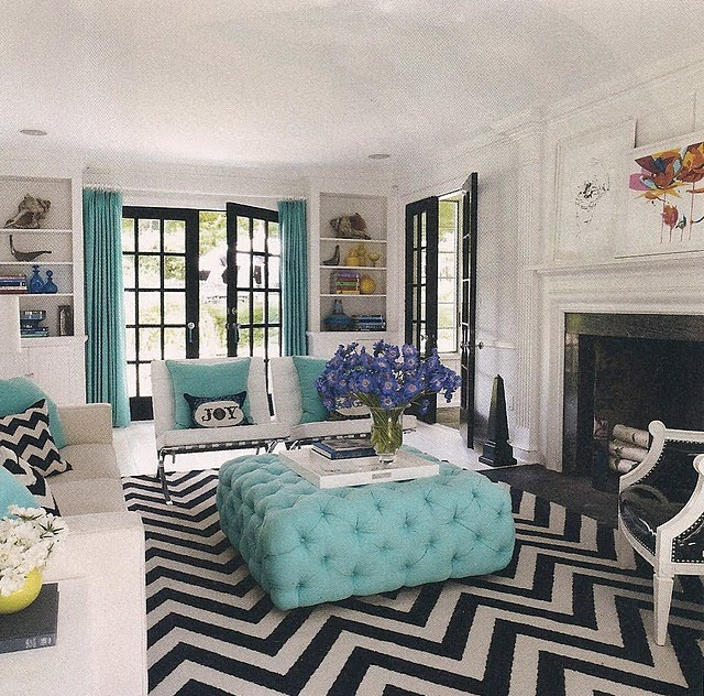 Want this entire living room chevron rug tiffany blue ottoman