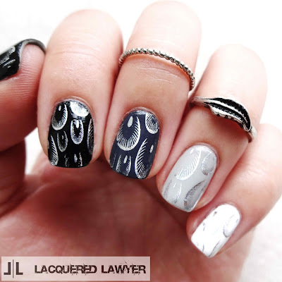 Foil Feather Nail Art