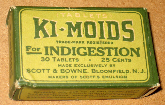 Green box of ki-moids tablets Scott & Bowne, Bloomfield. N.J.