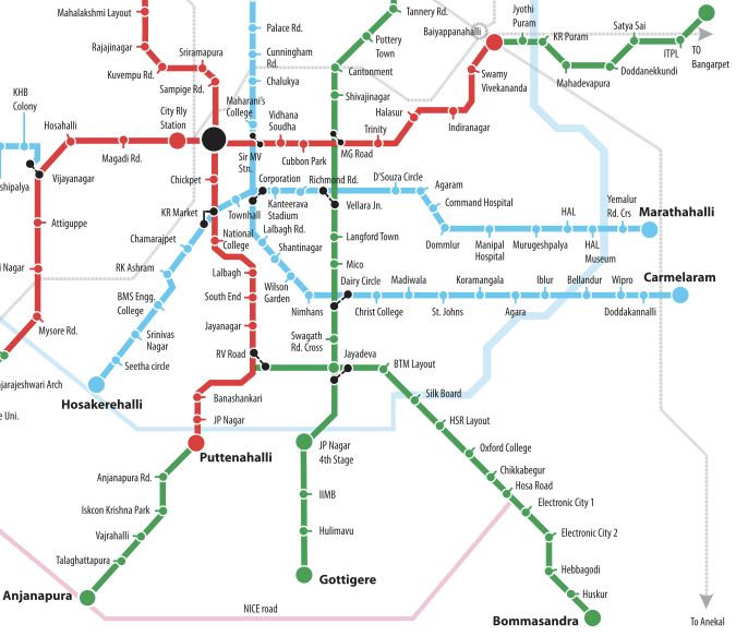 about namma metro Namma metro phase 1 network maps this is the list of stations of the namma metro ( english: our metro ), also known as bangalore metro , a rapid transit system serving the city of bangalore in india.