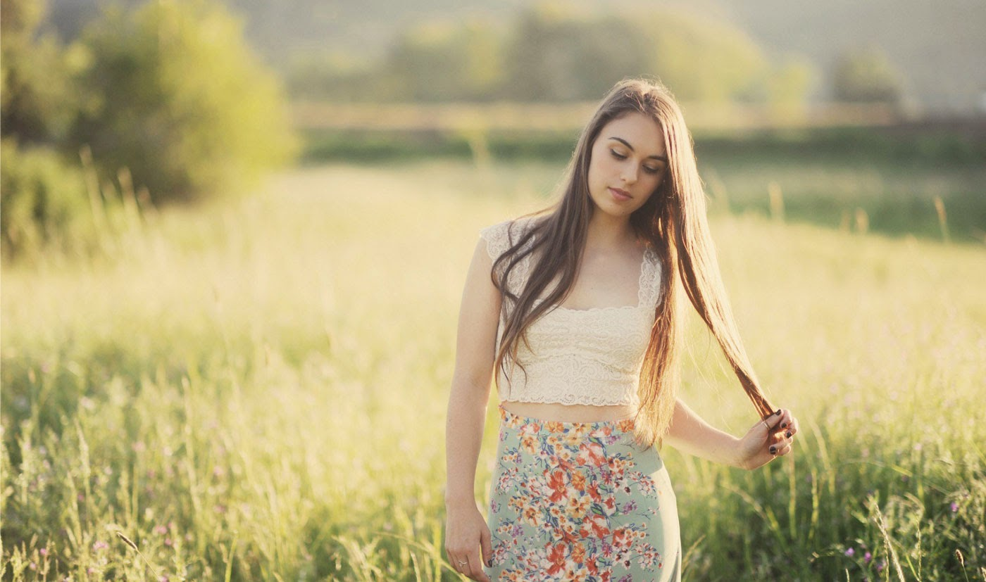 Cute girl at field photo