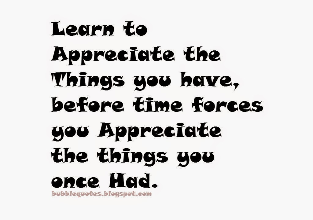 Learn to appreciate the things you have, Before time forces you appreciate the things you once had Image Quotes