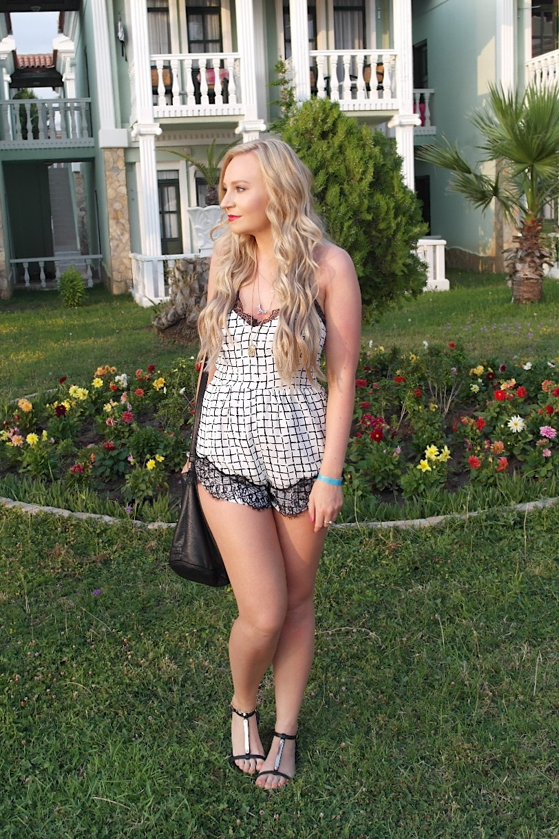 Missguided lace checked playsuit