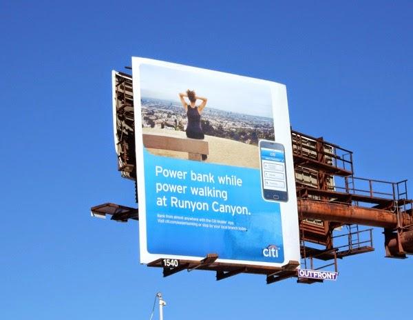 Power bank walking Runyon Canyon Citi billboard