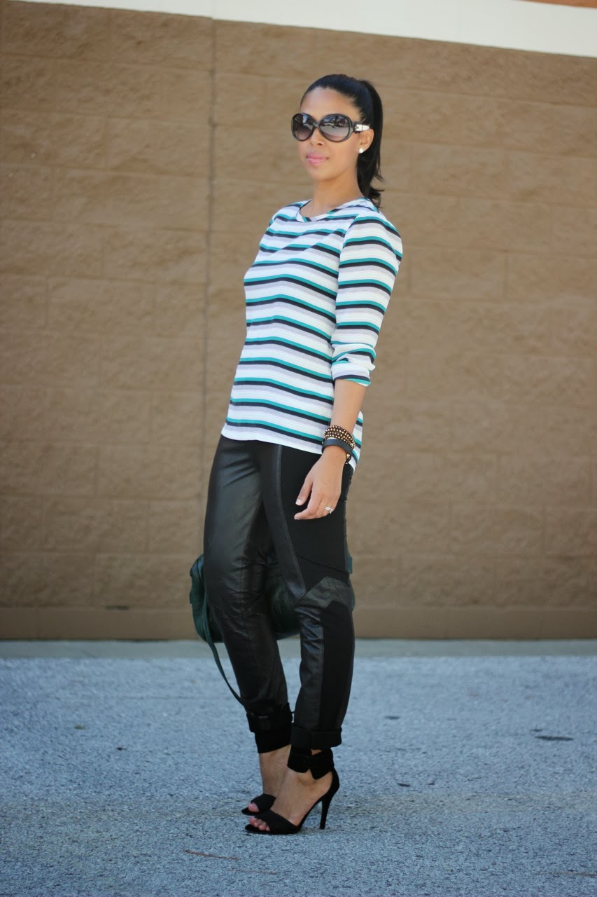 Equipment stripe top with BB Dakota leather pants and steve madden shoes Fendi Glasses Lauren Merkin bag
