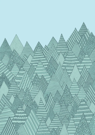 ilustraciones,Illustrations,Anita Ivancenko,Letonia,Latvia,Inglaterra,UK,azul,blue,verde,green,montañas,mountains