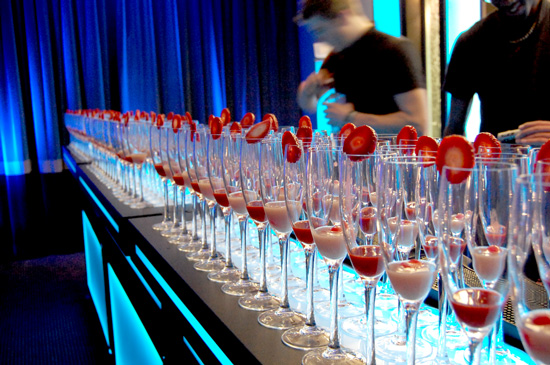 Mobile Bar and Rows of Strawberry Bellini by Liquid Chefs