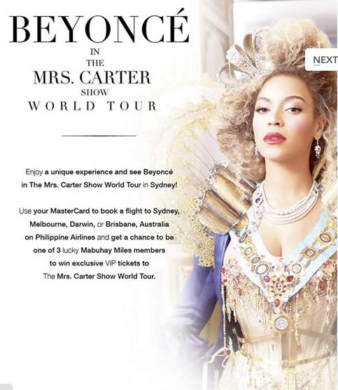 BEYONCE, Metrobank, Mrs. Carter Show World Tour