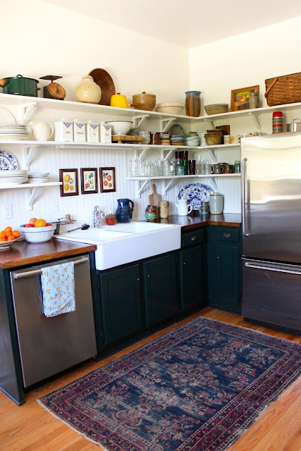 A perfect gray put a worn oriental rug in your kitchen now for Small rugs for kitchen