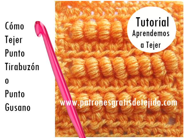 tutorial en video de como tejer punto gusano o punto tirabuzon ganchillo