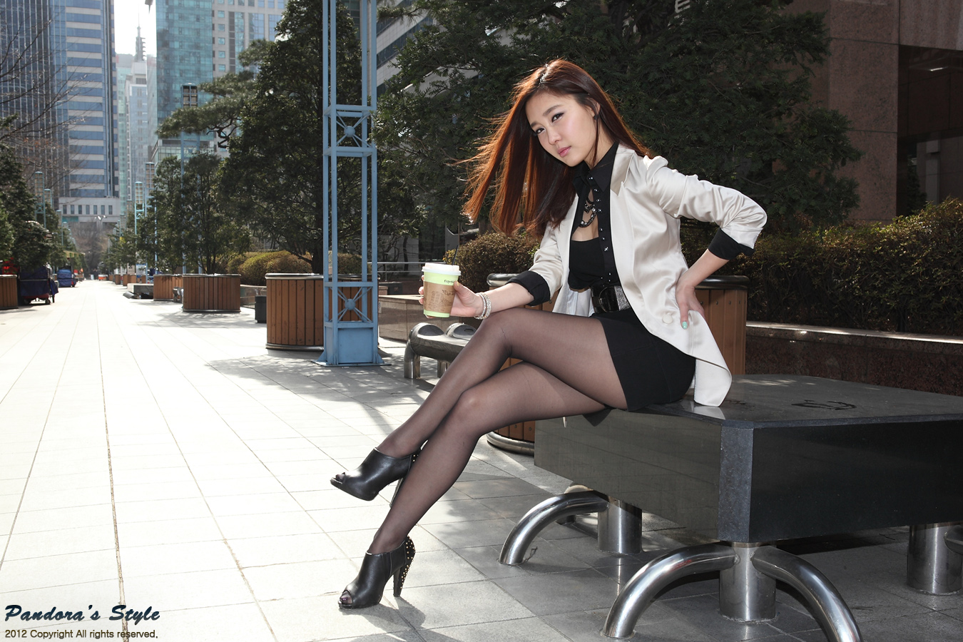 korean stockings Dressed finely in heels and stockings, in a nice looking city.