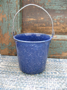 Wee little blue granite pail $28
