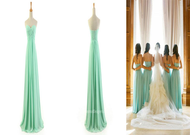 Long Green Bridesmaid Dresses