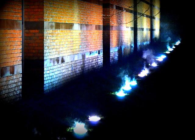 Night, Shadows, Peabody Essex Museum, Salem, Massachusetts, light, fog, condensation, brick, wall