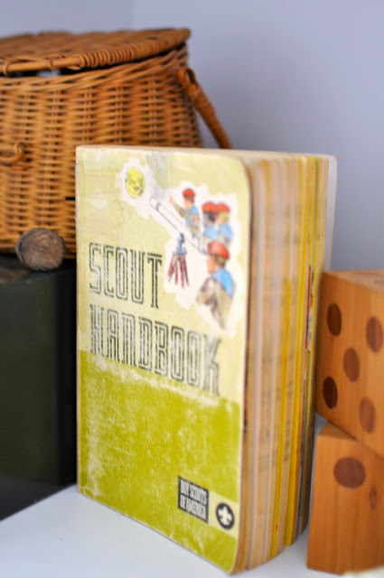 Outdoorsy, camping, boy scout nursery. Vintage Boy Scout Book