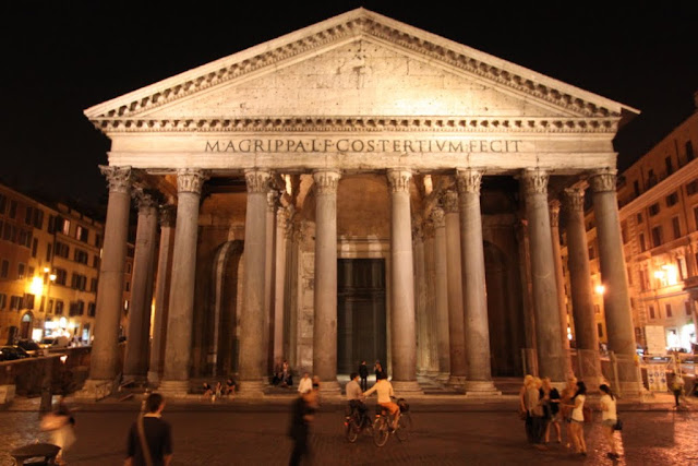 The Pantheon was taken at night in Rome, Italy