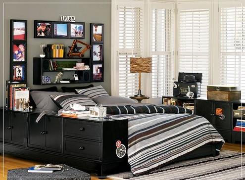 Dormitorios juveniles con acentos color negro for Dormitorio juvenil hombre