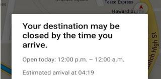 Google Maps memberitahu pengguna masih buka atau sudah tutup kah tempat tujuannya