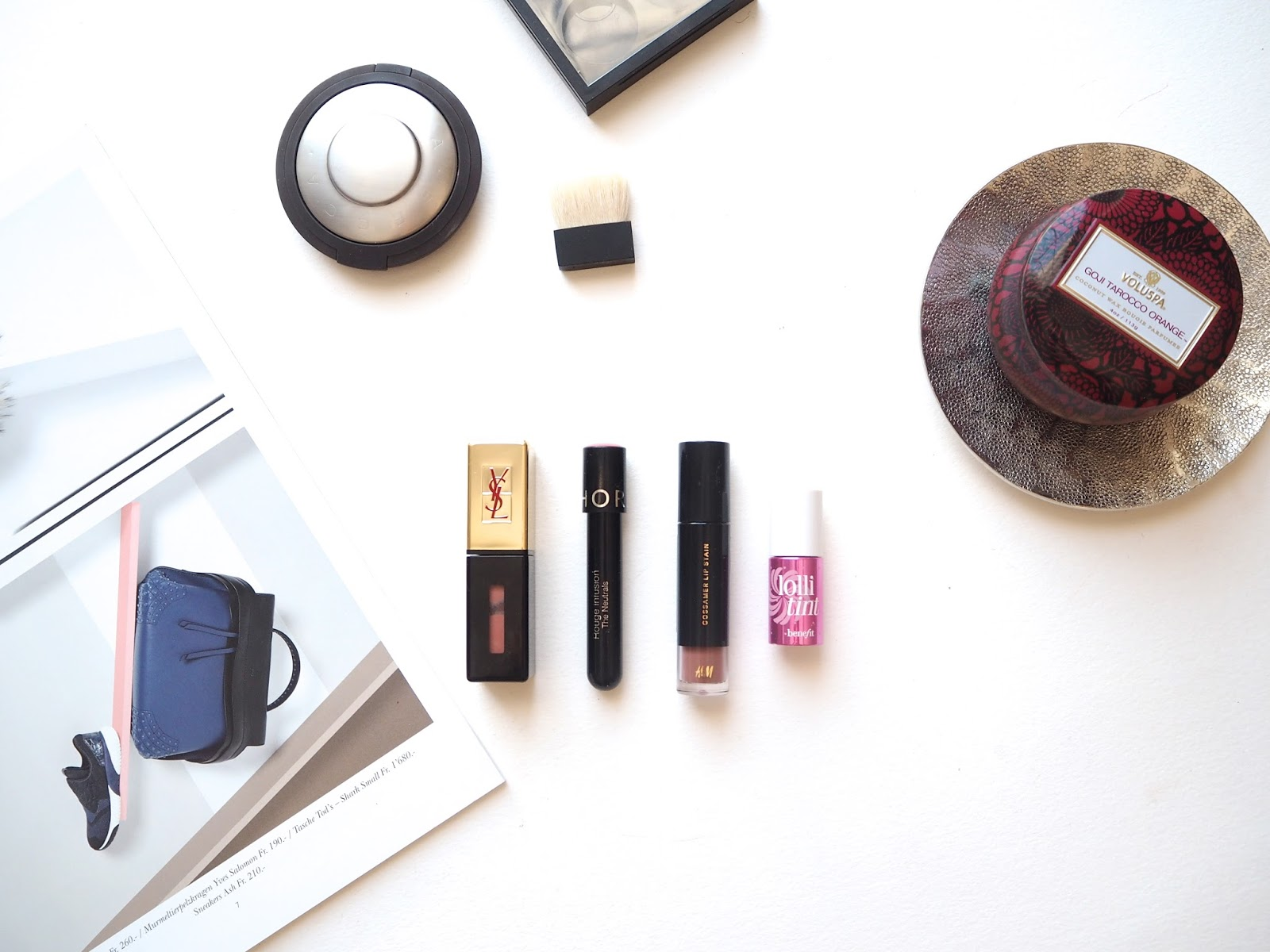 Best Lip Stains, YSL glossy stain, Sephora rouge infusion, hm beauty gossamer lip stain, benefit lollitint, swatches