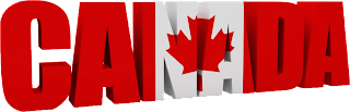 The word Canada in its national colors with a maple leaf in the center