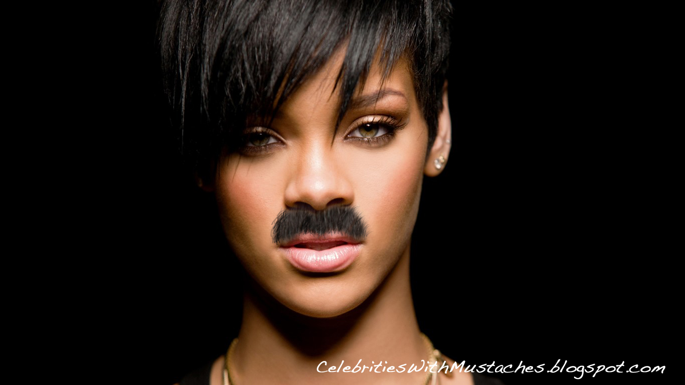 Rihanna shines bright with a mustache