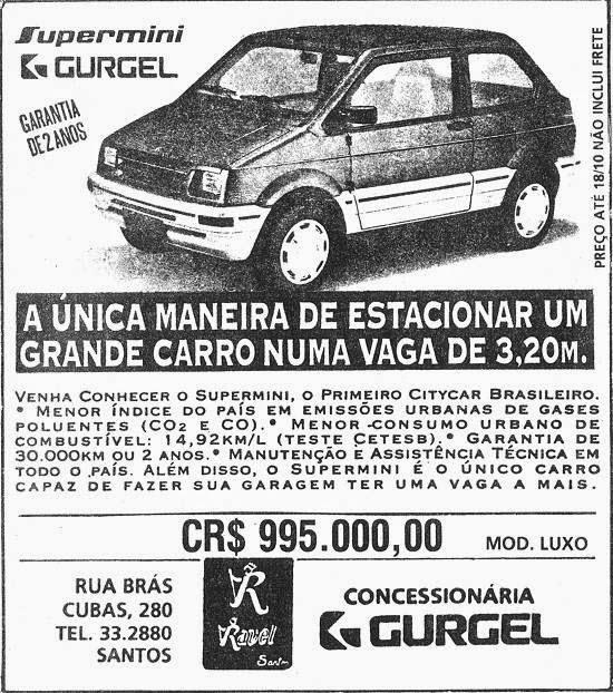 Propaganda do Gurgle Supermini em 1993: carro pequeno com apenas 3,20m de comprimento.