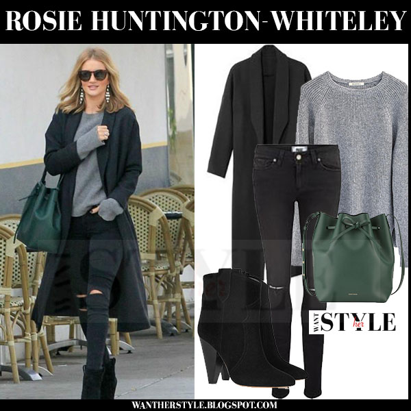 Rosie Huntington-Whiteley in grey ayr coat, grey ragdoll la sweater and black paige denim verdugo skinny jeans what she wore streetstyle