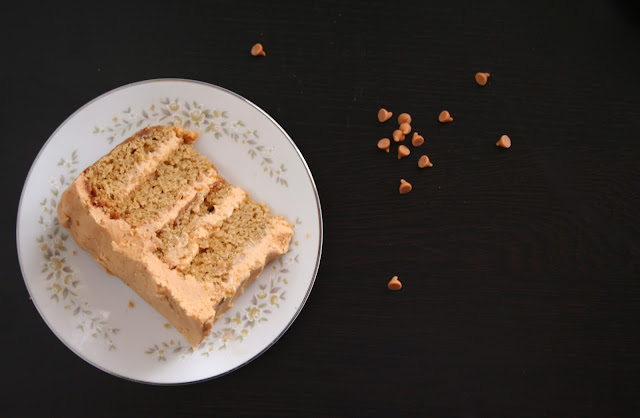 Browned Butter Vanilla Bean Cake with Butterscotch Frosting