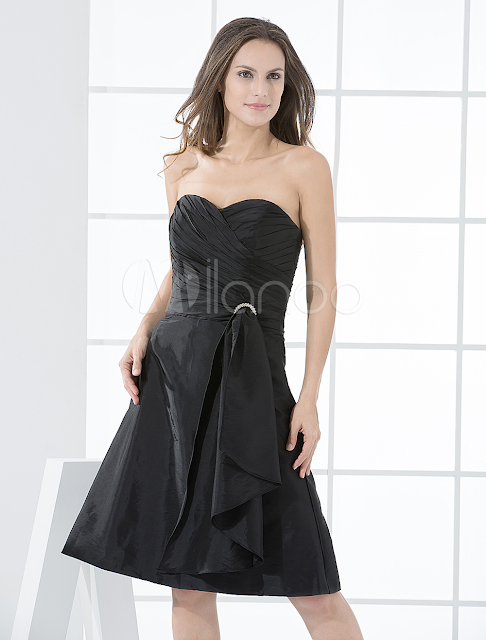 China Wholesale Clothes - Elegant A-line Strapless Sweetheart Beading Taffeta Cocktail Dress