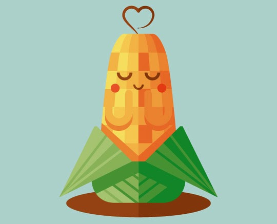 Cute Corn Illustration with Basic Shapes