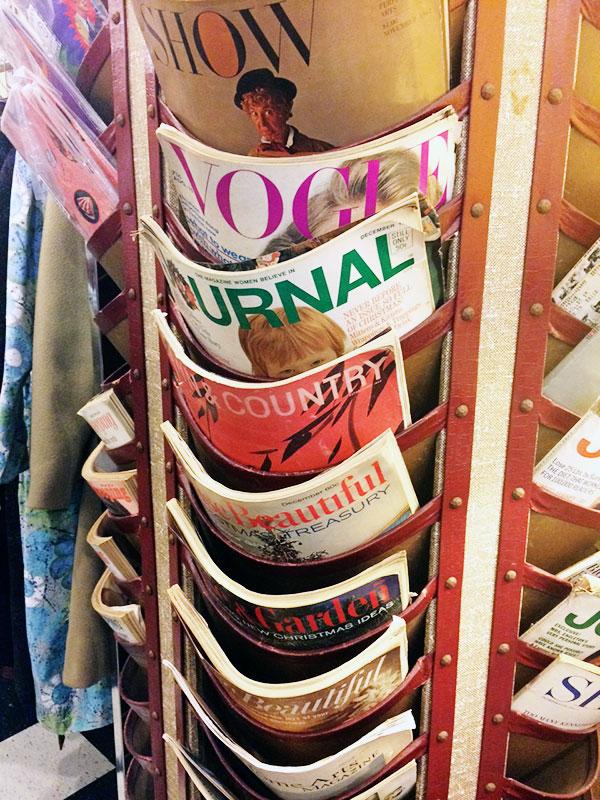 vintage magazine, magazine stand