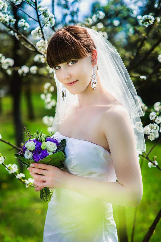 Fioletowe kwiaty ślubne