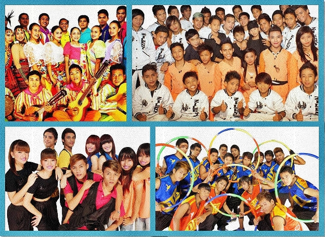 Clockwise from top, left: Bughaw Folkloric Dance Group, Zilent Overload, D' Intensity Breakers, Symmetry