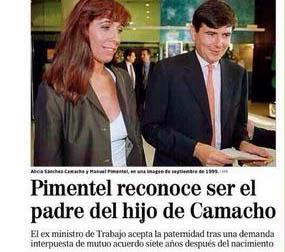 Pimentel reconoce ser el padre del hijo de Alicia Sánchez Camacho