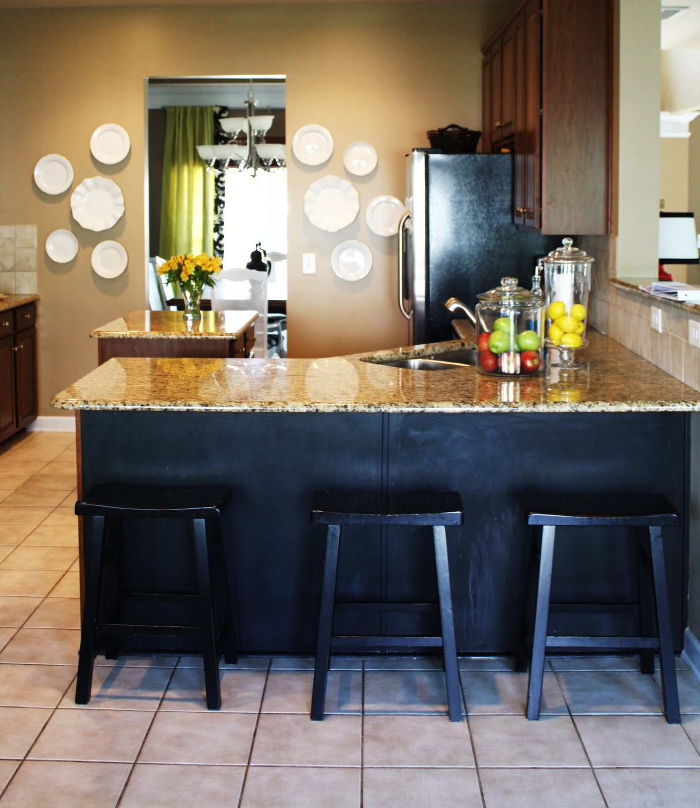 Our kitchen chalkboard paint under the counter emily a for Chalkboard paint kitchen ideas