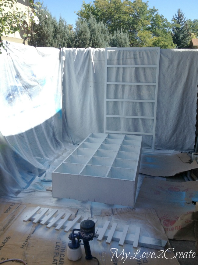 MyLove2Create, Cubby Shelf Revamp, painting with command max sprayer