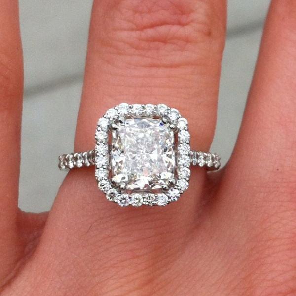 Reviews  2 12 Carat Cushion Cut Halo Diamond Engagement