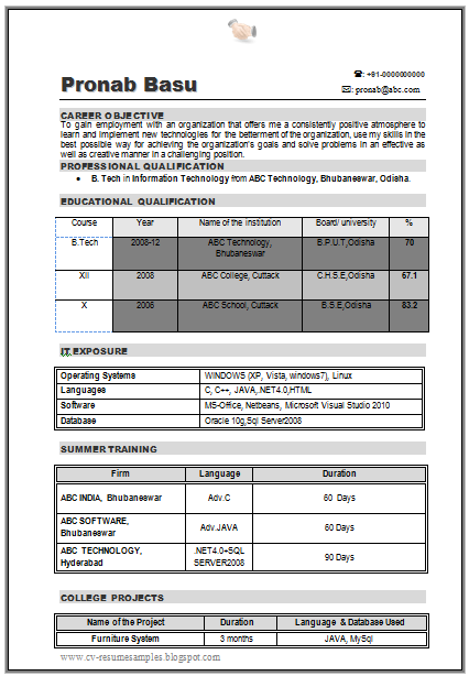 Resume samples for freshers b tech eee