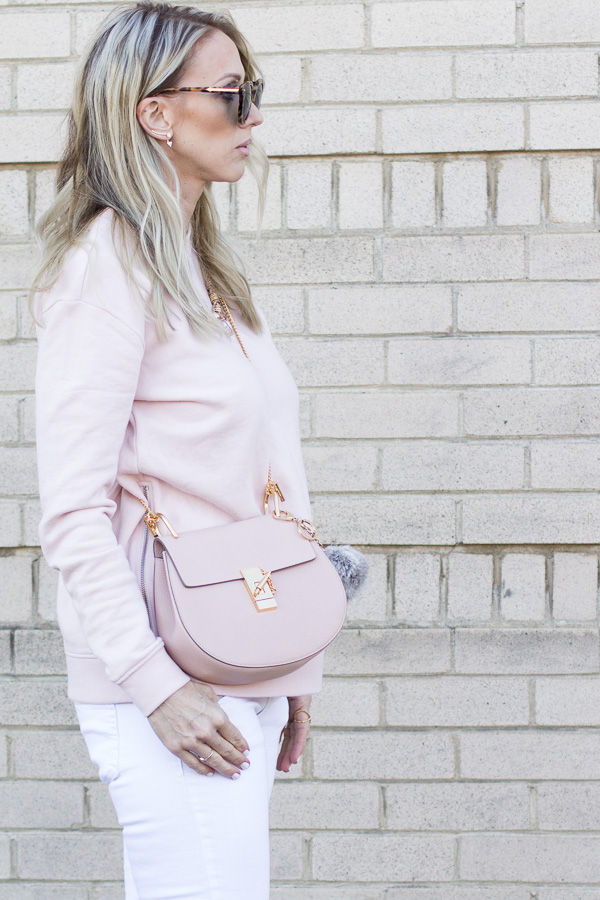 blush handbag gold chain