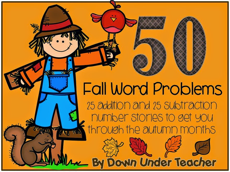 http://www.teacherspayteachers.com/Product/50-Fall-Word-Problems-or-Number-Stories-954604