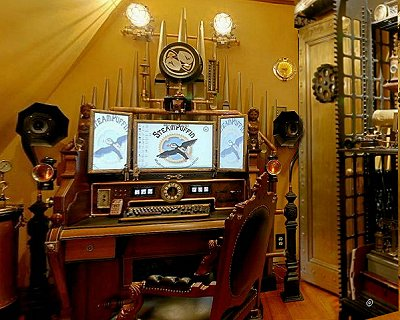 Steampunk wedding decorations living room interior designs for Steampunk living room ideas