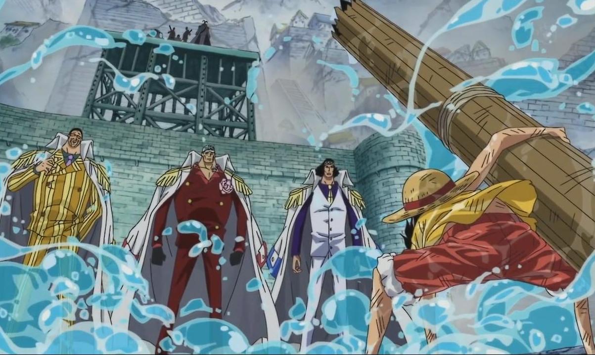 Resultado de imagem para one piece momentos epicos luffy contra 3 almirantes